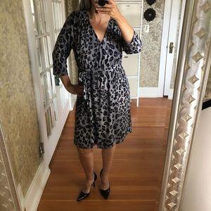 Lane Bryant Grey & Black Leopard Wrap Dress 14/16